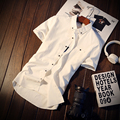 M-5XL 5 Colores Sólidos 2017 Nuevo Estilo Para Hombre Camisas de Vestir Camisas Ropa Casual Hombres de la Camisa de Manga Corta Marca Social C161