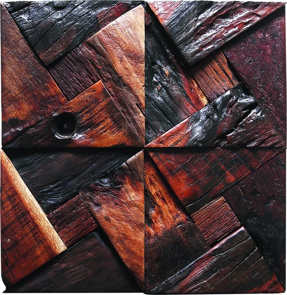 TST Dark Wood Wall Triangle Blocks Arched Wall Panel Decor ...