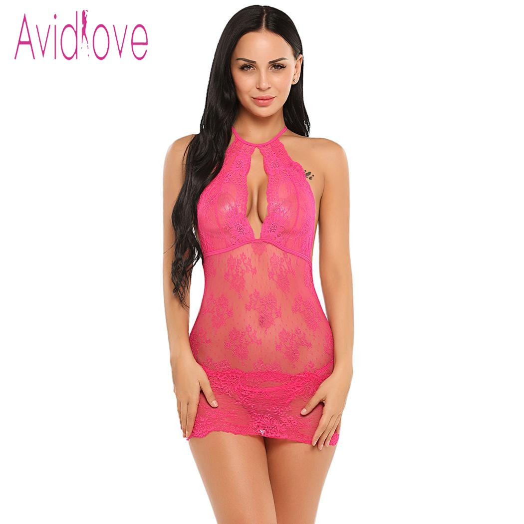 Avidlove Transparent Lingerie Sexy Erotic Costumes Women Mini Baby Doll Sleepwear Nightwear Exotic Apparel Porn Sex Intimates