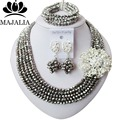 2017 Fashion Nigeria Wedding african beads jewelry set Silver Crystal necklace Bridal Jewelry sets Free shipping WIN019