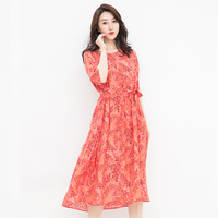 Summer Women Dress 100% Real Silk Dress Half Sleeve Mid calf O neck Mid waist Silk Knitting Loose Elegant Dress CK6112