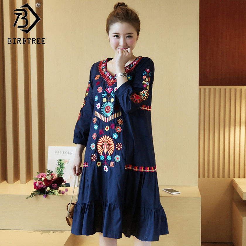 Maternity Clothing 2018 Spring Ethnic Style Embroidery Floral Denim Pregnant Dresses Long Sleeves Casual Nursing Dresses D83107A