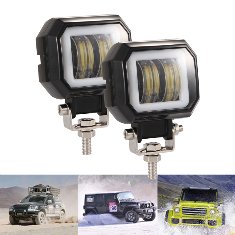 1 Or 2PCS 3 inch 6500K Offroad White Fog Light Waterproof Square LED Angel Eye light Strip Off road Work light Car Boat Truck in Light Bar Work Light from Automobiles Motorcycles