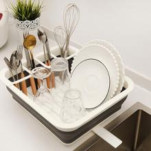 Foldable Dish Rack Drain Tableware  Portable TPR rubber Bowl Sink Design Folding Drying Dinnerware Storage