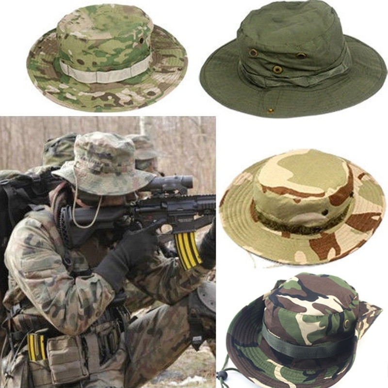 6feceae8961 1 pc Fishing Hiking Boonie Snap Brim Military Bucket Wide Brim Sun Beach  Hat Cap Woodland Camo Accessories-in Bucket Hats from Apparel Accessories  on ...