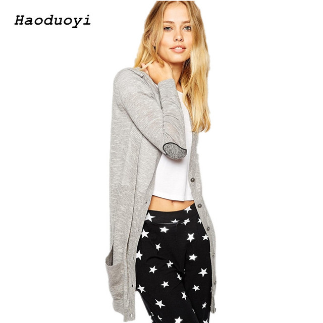 Haoduoyi Sweater Cardigans Lady Autumn Winter Knitted Sweaters Women