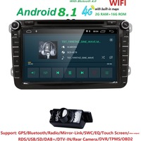 2G RAM дюймов 8 дюймов QuadCore Android8.1 2Din автомобильный DVD для V W J ETTA Tiguan Passat B6Touran Caddy Amarok Гольф EOS DAB BT gps 4 GWIFI МЖК