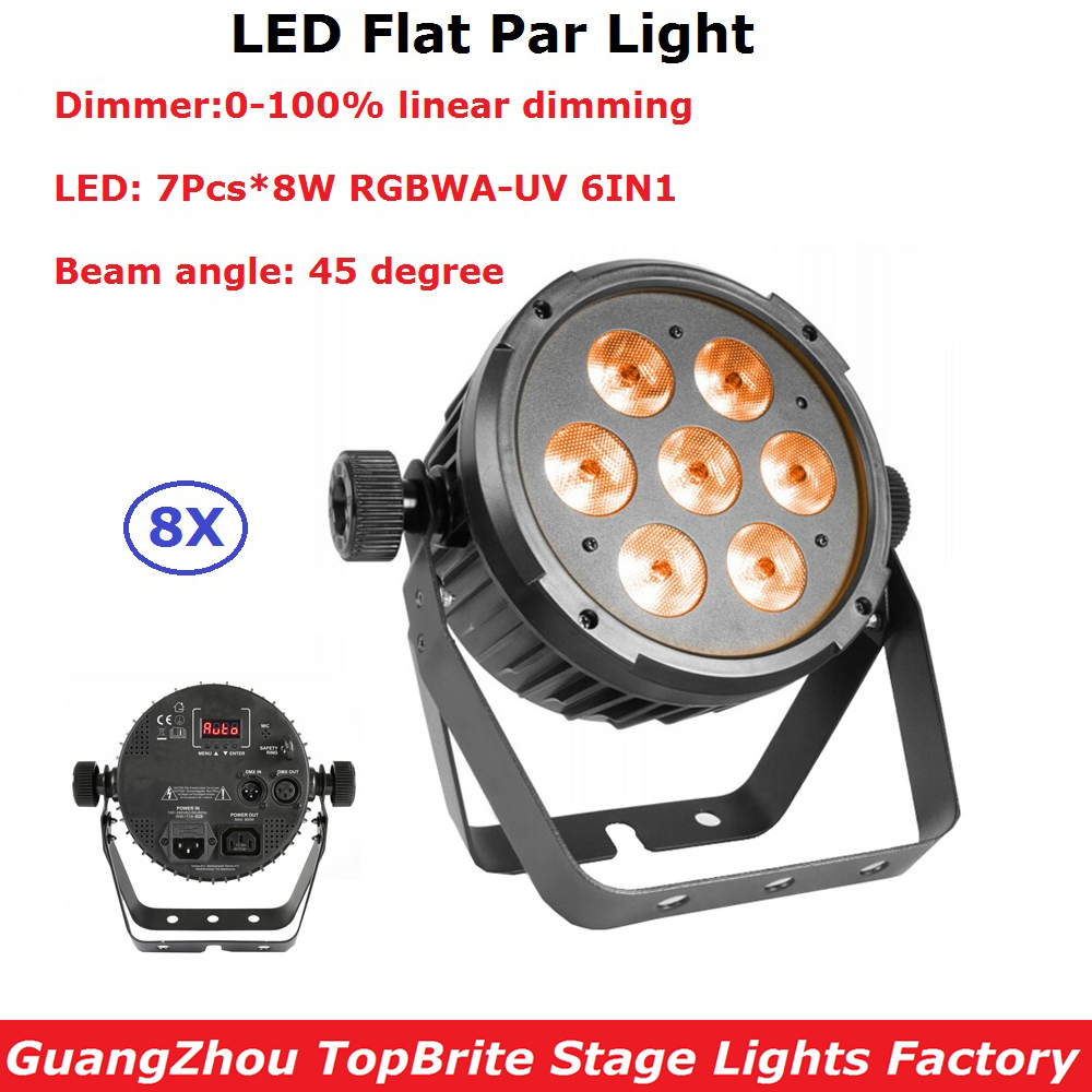 8 Unit Sales 7X8W RGBWA-UV 6IN1 Led Par Light DMX Stage Lights Business Lights Professional Flat Par Light For Disco Nightclubs ночная сорочка 2 штуки quelle quelle 966812