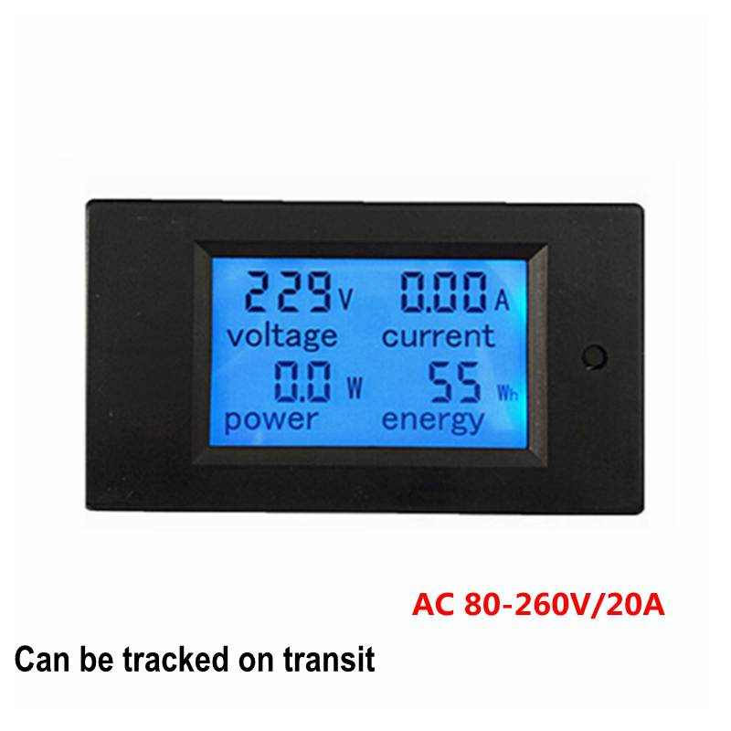 New LCD AC 80-260V/20A Voltmeter Ammeter Volt Power Energy Meter Gauge with Blue Backlight Data Storage Function 20a ac digital lcd panel power meter monitor power energy ammeter voltmeter blue backlight dual measuring 80 260v
