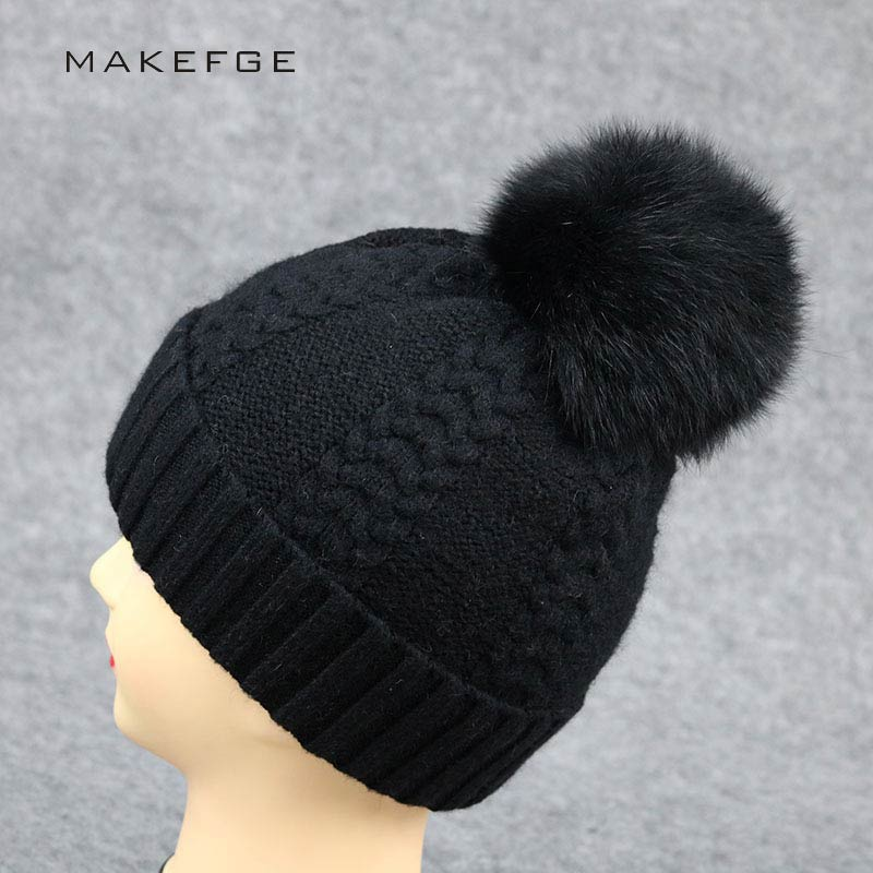 2017Fur Pom Poms Beanie Hat Girls Warm Winter Wool Knitted Hats real Fox Fur Big pompom Hat Cashmere Wool Skullies Cap For Women autumn winter hats for women knitted beanie hat pom pom cap wool hat with real raccoon fur pompom female skullies beanie hats