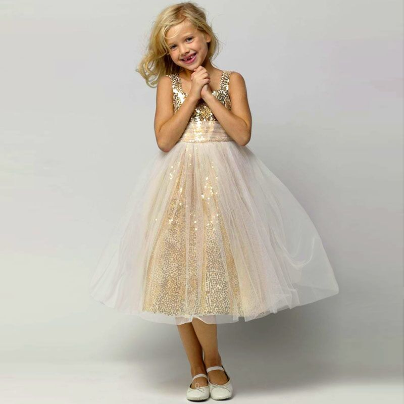High Quality Gold Sequin Flower Girl Dress-Buy Cheap Gold Sequin ...