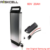 60V 20AH Li Ion Battery With Flat Aluminium Case 5A Charger And BMS Ebike Bike