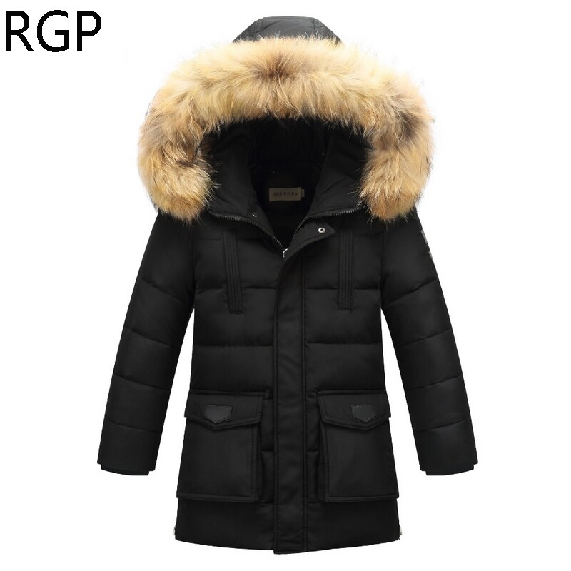 New 2017 Boys Winter Down Jackets Children Long Section Outerwear Warm Coats Kids Parkas Fur Hooded Quilted Jackets High Quality ваза фантазия 120 70мм хохлома 1116631