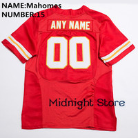 New Men 15 Patrick Mahomes High Quality Stitched Logos&Name&Number Game Football Jerseys White Red S XXXL