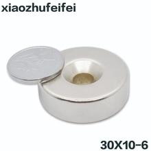 5 шт. 30x10 мм отверстие 6 мм N35 супер сильное кольцо потайной Магнит 30 мм x 10 мм Редкоземельные неодимовые магниты цилиндр 30*10-6