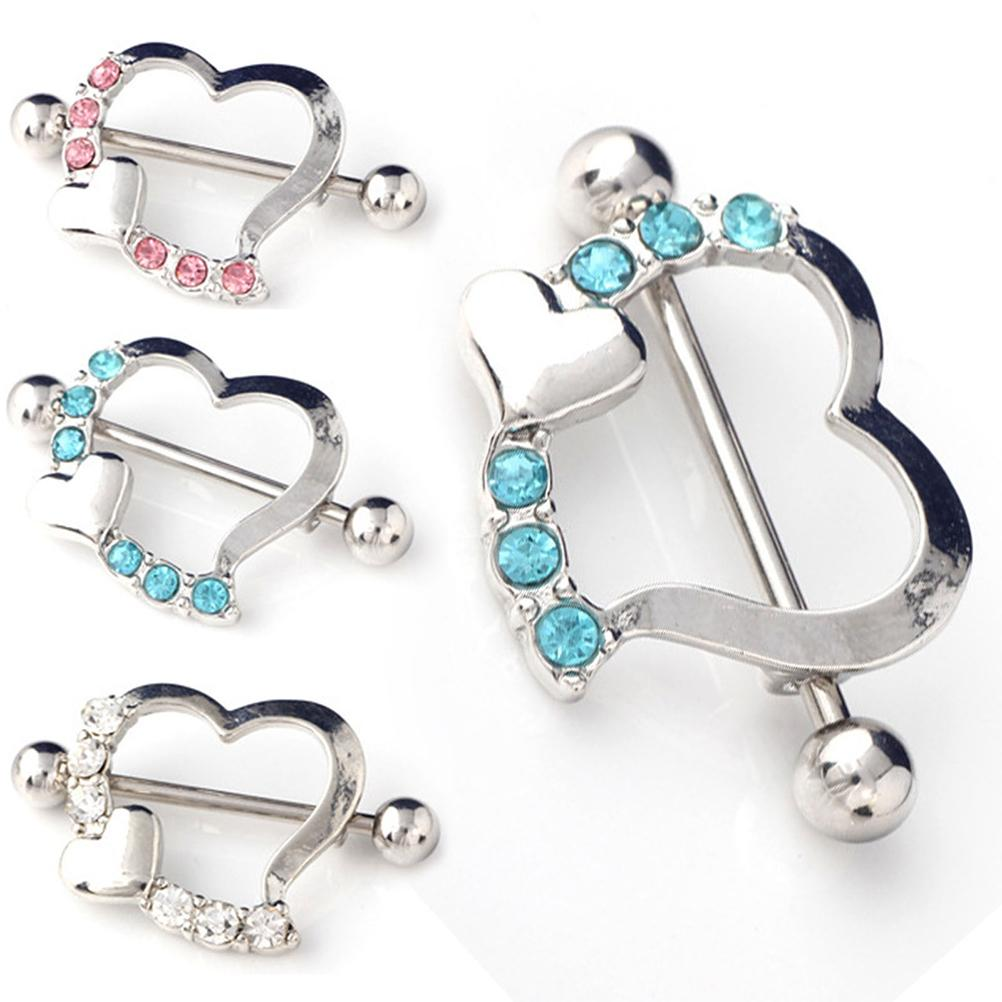 1Pcs Blue Pink White Sexy Crystal Gifts Love Hearts Nipple -7833