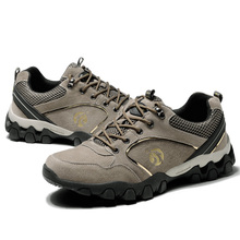 купить Big Size Hiking Shoes Lace Up Men Sport Shoes Outdoor Walking Waterproof Sneakers Non-Slip Wear-Resistant Travel Shoes дешево