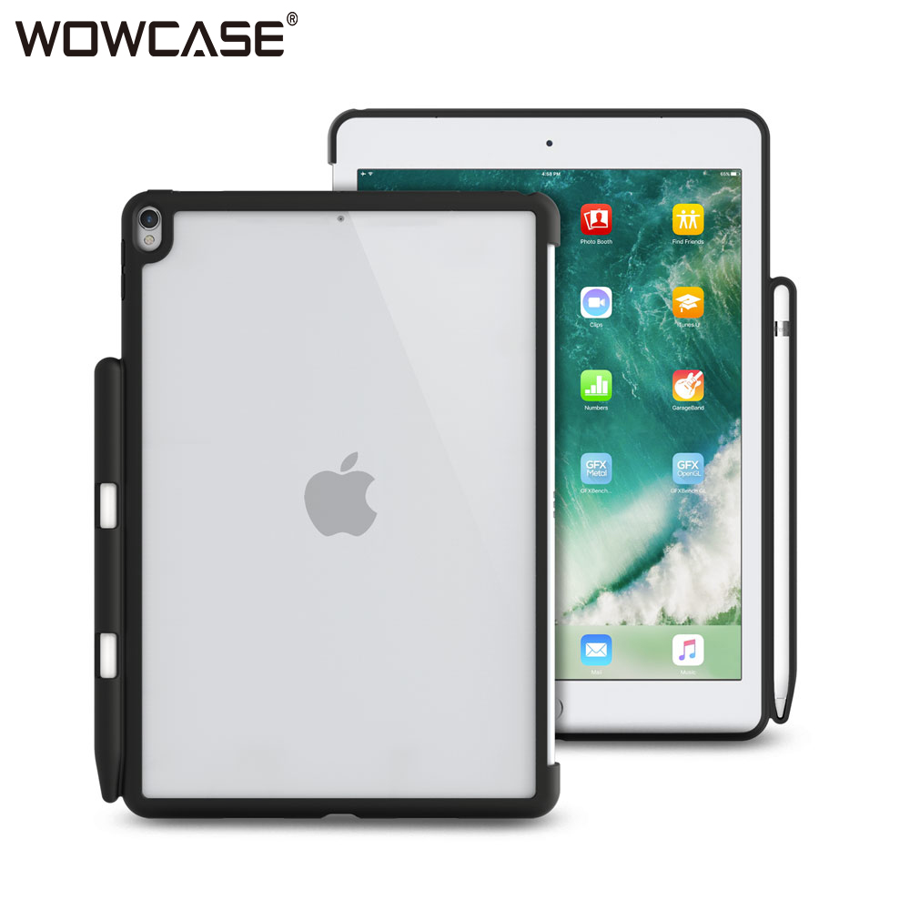 WOWCASE Pencil Holder for iPad 2018 Case Ultra Thin Transparent Hard Plastic Back Protector Cover For iPad 9.7 2018/2017 Cases crystal plastic protective back case for iphone 5 transparent blue