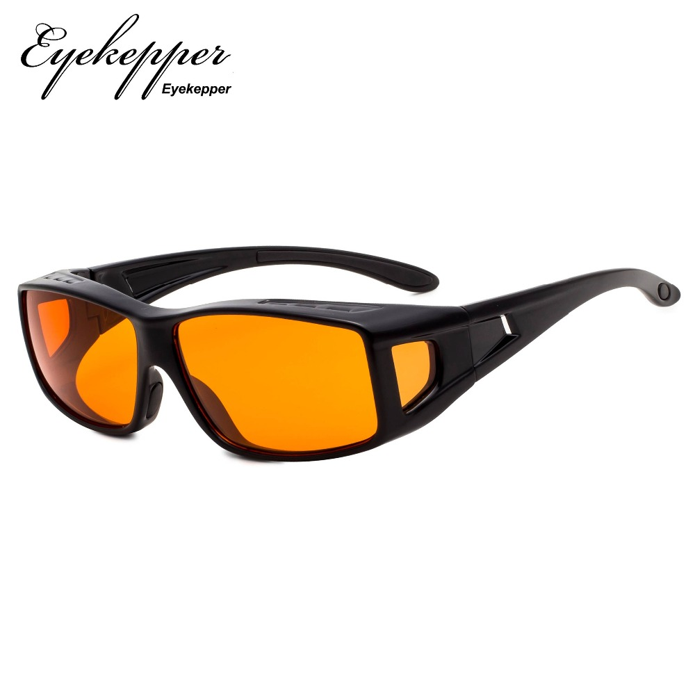 DSXM1805 Eyekepper 100% Blue Light Reduction,Fitover Anti Blue Blocking Computer Glasses with Extra Amber Lenses.