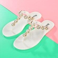 c2c75f1075d Baru 2018 Wanita Sepatu Sandal Jepit Faux Pearl Glitter Musim Panas  Bohemian Gaya Pantai Sandal(