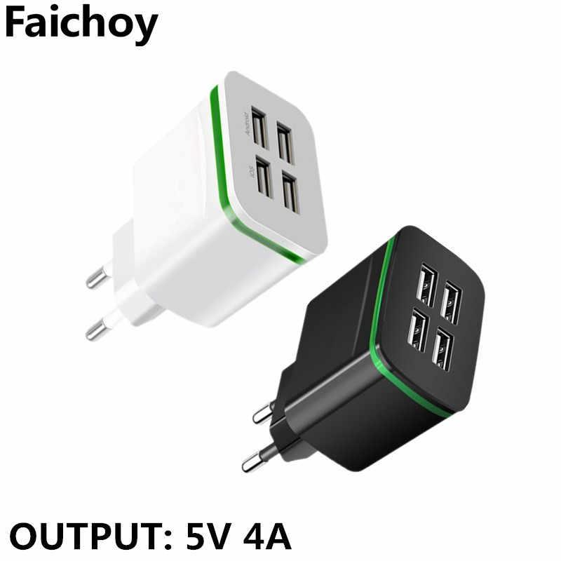 Desktop 4 Ports USB Charger for iPhone iPad Xiaomi Samung LED Light EU Plug 5V 4A Wall Adapter Mobile Phone Universal Charging