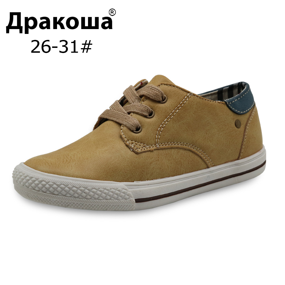 Apakowa Kids Boys Casual Shoes Fashion Sports Boys Light Weight Soft Running Sneakers Rubber Kids Brand School Shoes Size 26-31