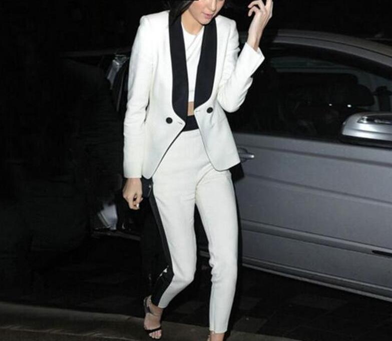 2 Stück Weiß Frauen Anzüge Schwarz Schal Revers Damen Hosenanzug Zeigen Büro Einheitliche Partei Outfits B325 100% Original