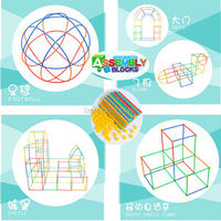 Plastic Stick Straw Building Blocks DIY Smart Toys Educational Learning Tunnel Toy Assembling Colours Blocks 110pcs