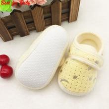 Cute Star Print Infants Baby First Walkers Boys Girls Hook Loop Anti slip Shoes Cotton Crib