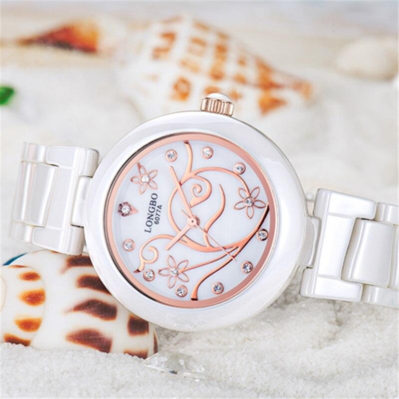 Watch Women 2018 Ladies Designer Watches LONGBO Luxury Brand Elegant Women Ceramic Strap Quartz Watch Relogio Feminino Gift in Women 39 s Watches from Watches