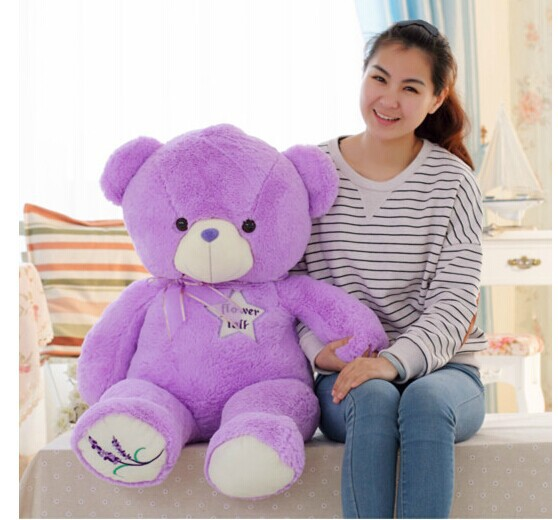 big purple teddy bear toy lovely lanvender bear toy cute bear toy gift doll about 100cm 0147 big cute simulation polar bear toy handicraft lovely white polar bear doll gift about 31x18cm
