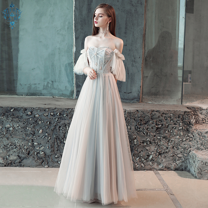 Ameision New arrival modern party dress evening dresses prom crystal  floor length pleat elegant frock style