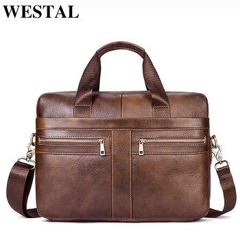 5bef52b86842 WESTAL сумка для мужчин пояса из натуральной кожи повседневное мужской  мужские портфели ноутбука мужчин's сумки через плечо для 2019