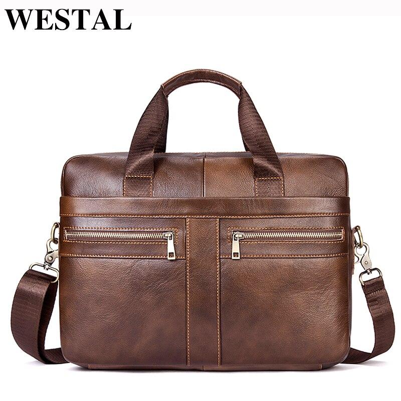 9e6e308cd WESTAL bolso de cuero genuino de los hombres maletín hombre bolsa de  ordenador portátil de cuero