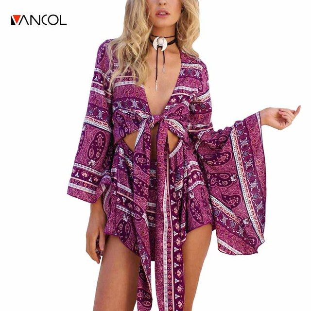 cd412aad0 vancol 2017 new oversize boho printed beach women jumpsuit short with lace  up bow summer deep