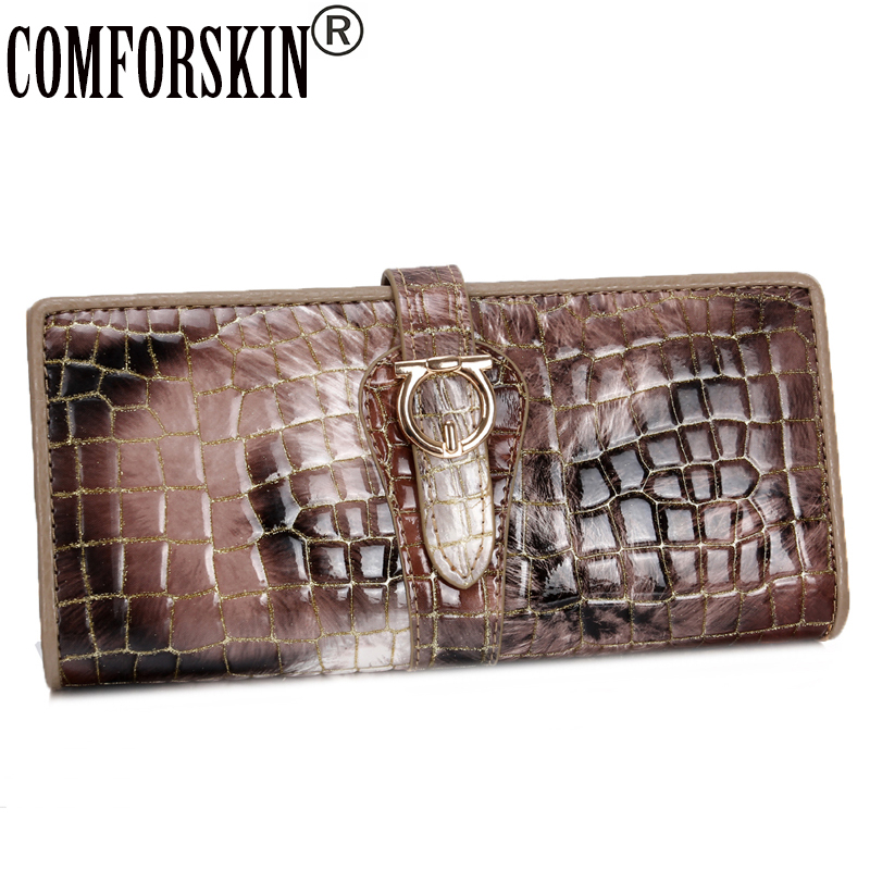 COMFORSKIN High Quality 100% Genuine Leather Large Capacity Multi-Card Bit Women Wallets Designer Brand Long Clutch Wallet 2018 brand double zipper genuine leather men wallets with phone bag vintage long clutch male purses large capacity new men s wallets