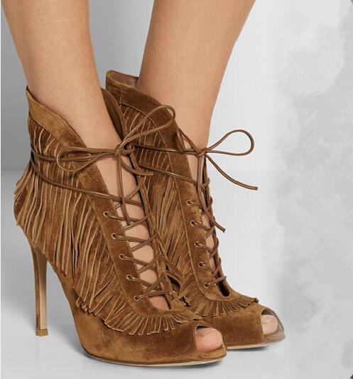 Free shipping spring autumn cut-outs tassels boots thin high heels peep toe lace up women ankle boots fringed boots size 35-43 lace up tassels zipper boots
