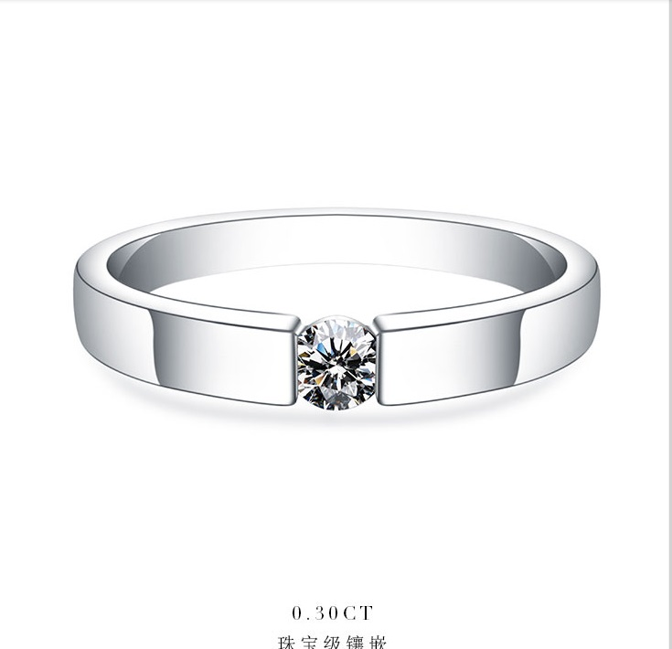 0 25Ct 4mm G H Moissanite Engagement Ring for Women White Gold Color Solid 925 Sterling