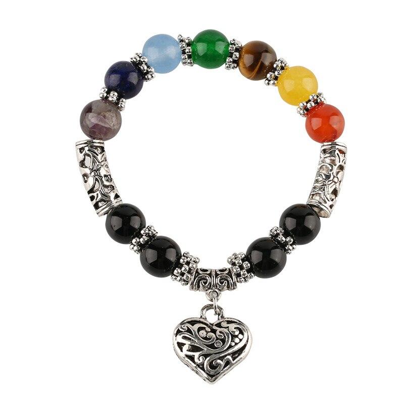 Charms Heart-shaped Rainbow Bracelets Stone Stainless Steel Beaded Bracelet Women Fashion Jewelry Birthday Anniversary Gifts