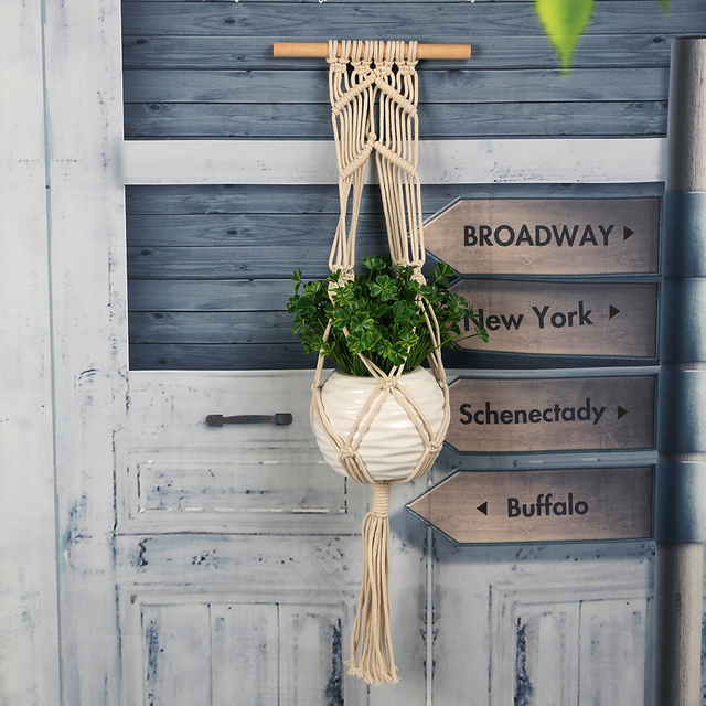 Garden Macrame Plant Hanger Flowerpot Holder String Hanging Rope Wall Art Home Wall Hanging Plant Hanger Rope E5M1