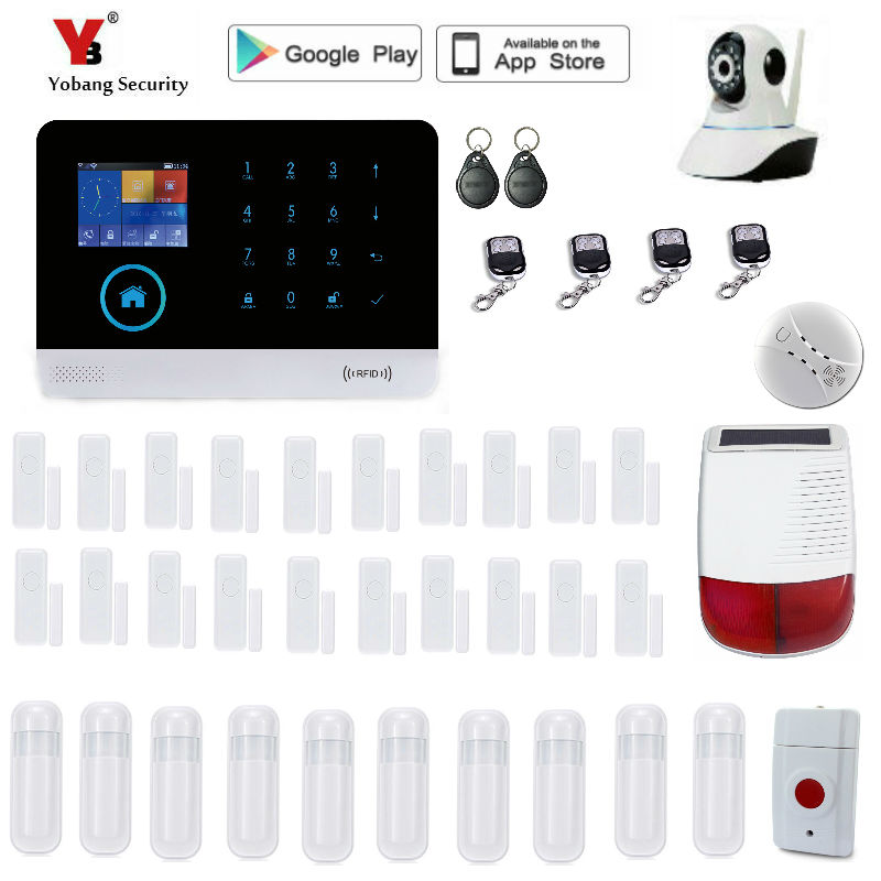 Yobang Security WIFI GSM SMS Home Burglar GSM Touch Screen Alarm Panel Home Security Alarm System+Wireless Outdoor solar Siren yobang security rfid gsm gprs alarm systems outdoor solar siren wifi sms wireless alarme kits metal remote control motion alarm