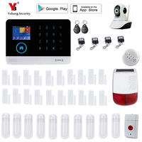 Yobang Security WIFI GSM SMS Home Burglar GSM Touch Screen Alarm Panel Home Security Alarm System+Wireless Outdoor solar Siren
