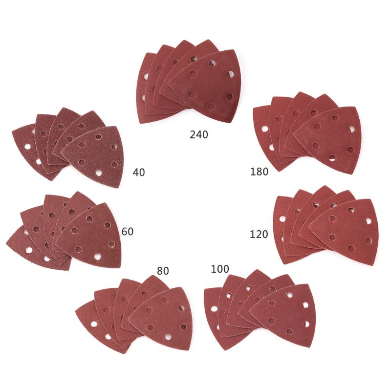 20pcs Triangular Sanding Paper Grit 40-240 Triangle 90mm 3.54inch Self-adhesive Sandpaper Polishing Sanding Disc Abrasive Tools