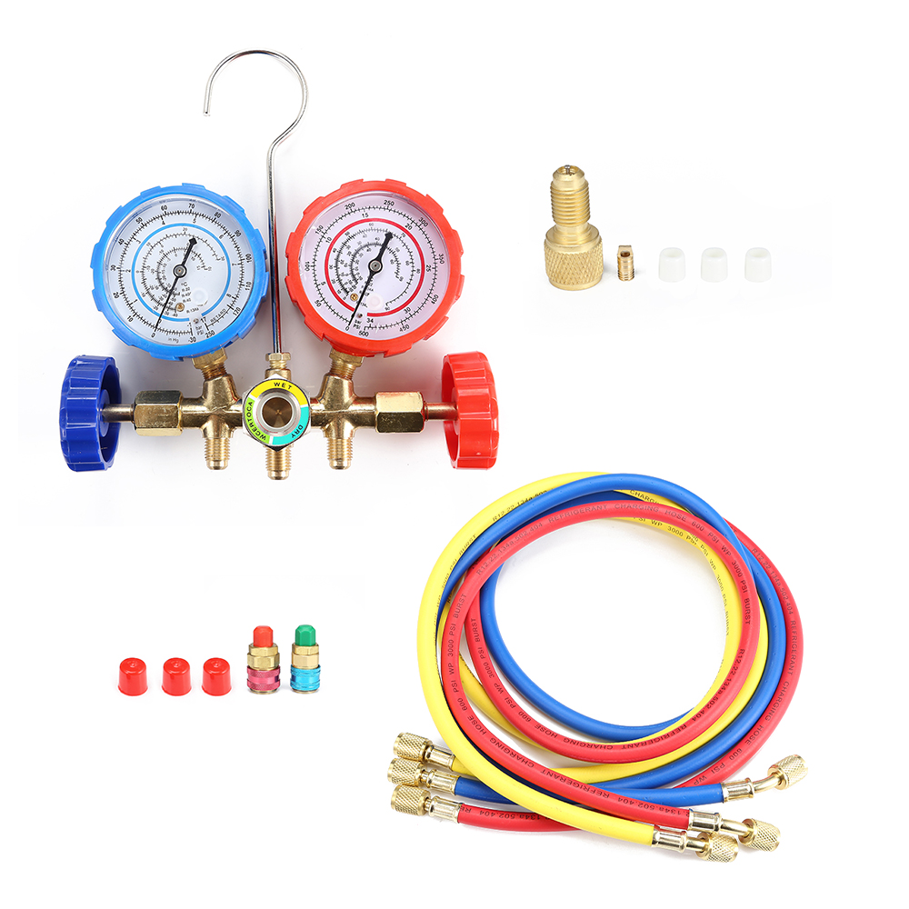 R22 R134 R404 R410 Current Divider Meter Set Manifold Gauge Durable Pressure Gauge Valve Air Condition Refrigeration Maintenance