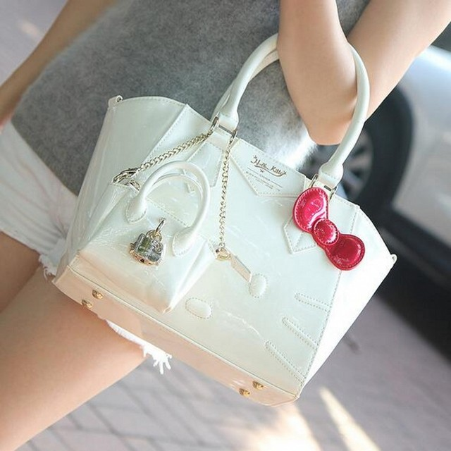 Famous brand designer women female leather hello kitty handbag organizer bags sac a main femme de marque bolsas femininas