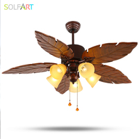 SOLFART Ceiling Fan Crystal Chandelier Roof Fan With Remote Control Invisible Fan Wood Engraving Blades Security
