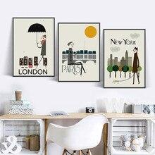 Dinding Seni Moderen Nordik Tema Kota Baru York London Paris A Gambar Poster Cetakan Rumah Dekorasi Ruang Tamu Kanvas Lukisan