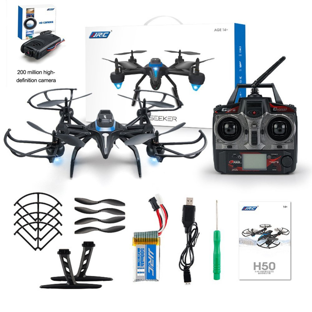JJRC 2.4GHz 4-axle RC Quadrocopter with 2.0MP Camera FPV Drone Gyro Altitude Hold Headless Mode 360 Degree Roll H50CH-2 F20672 jjrc h50ch 2 4 axis rc drone quadcopter uav altitude hold headless mode with 200w fpv camera spare parts f20672