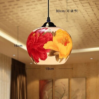 Chinese Style,Jingdezhen Ceramic,Multicolour flowers,1 Light,Warm light,For dining room living room study,E27,Bulb Included
