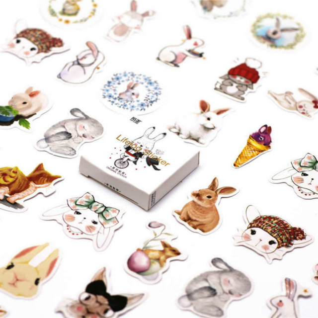 45 unids/pack Kawaii lindo conejo Hooligan patrón decoración diario pegatinas Scrapbooking papelería estudiante Oficina suministros